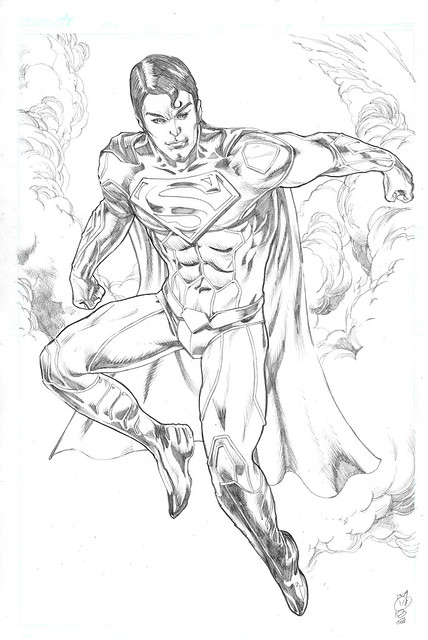 Superman jim lee relaunch kelvin chan rocketraygun pencil comic art dc comics