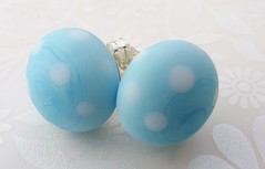 Blue Polka Dot button earrings (Glittering Prize - Trudi) Tags: blue glass silver beads handmade polka jewellery earrings dots trudi lampwork glitteringprize