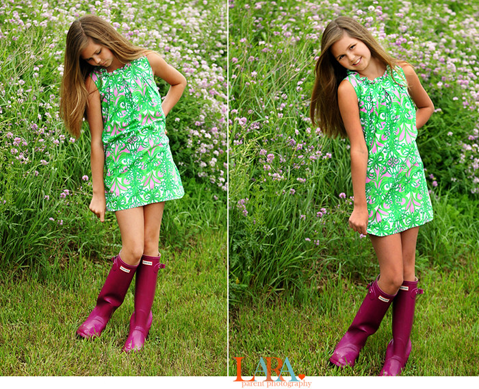 girl in lilly and hunter boots