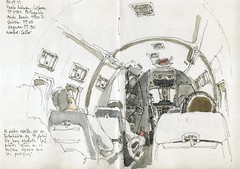 Flight Mlaga to Lisbon (Luis_Ruiz) Tags: airplane sketch drawing aircraft 1900 dibujo avin beech symposium carnetdevoyage portugalia urbansketchers