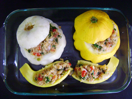 Stuffed Patty-Pan and Yellow Squash