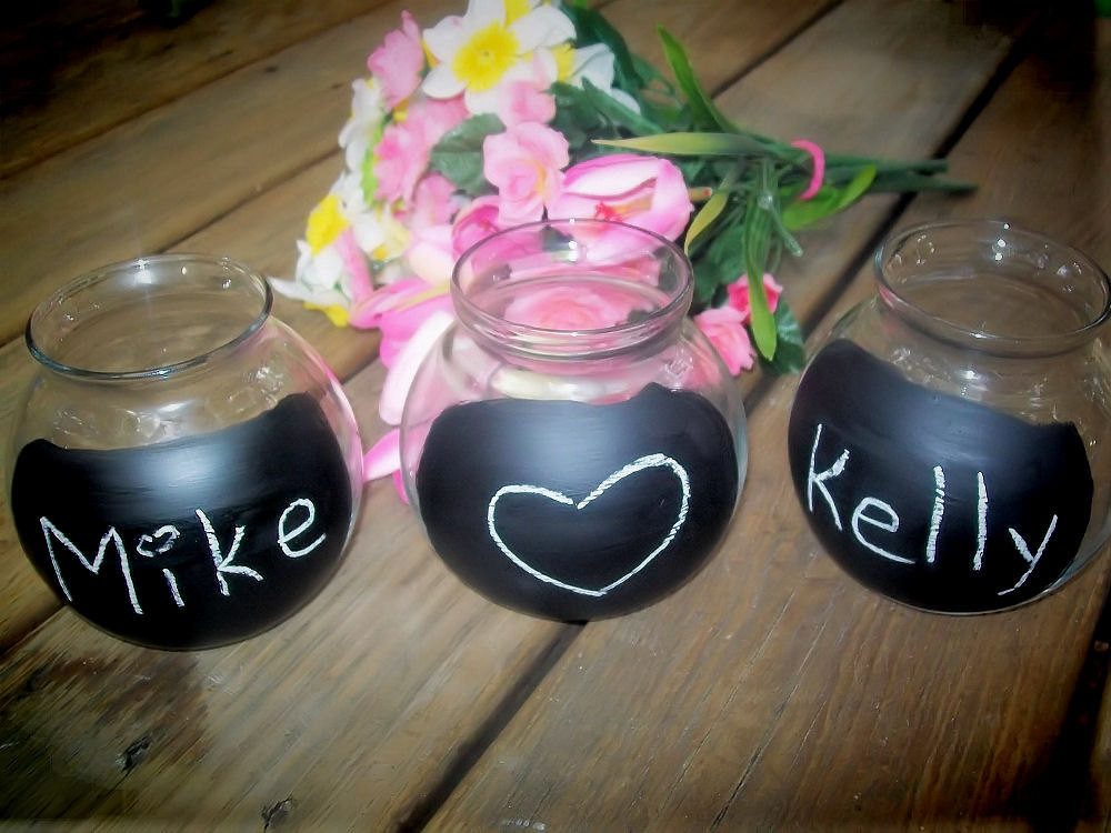 Upcycled Glass Jars With Chalkboard Fronts Tea Light Candle Holder Rustic Woodland Wedding
