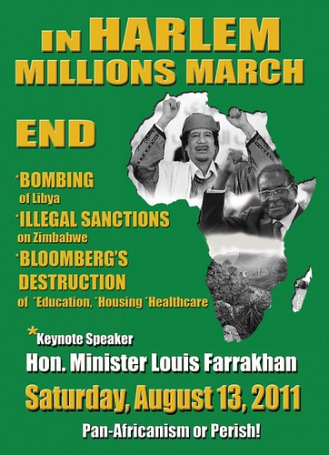 Poster for the Harlem Millions March on August 13, 2011 to oppose the US-NATO war against Libya and to demand the lifting of sanctions on Zimbabwe. There is a growing movement opposed to imperialist interventions. by Pan-African News Wire File Photos