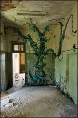 The Little Sanatorium of Horrors. (Romany WG) Tags: abandoned shop graffiti little v sanatorium derelict decayed horrors urbex lamouche of