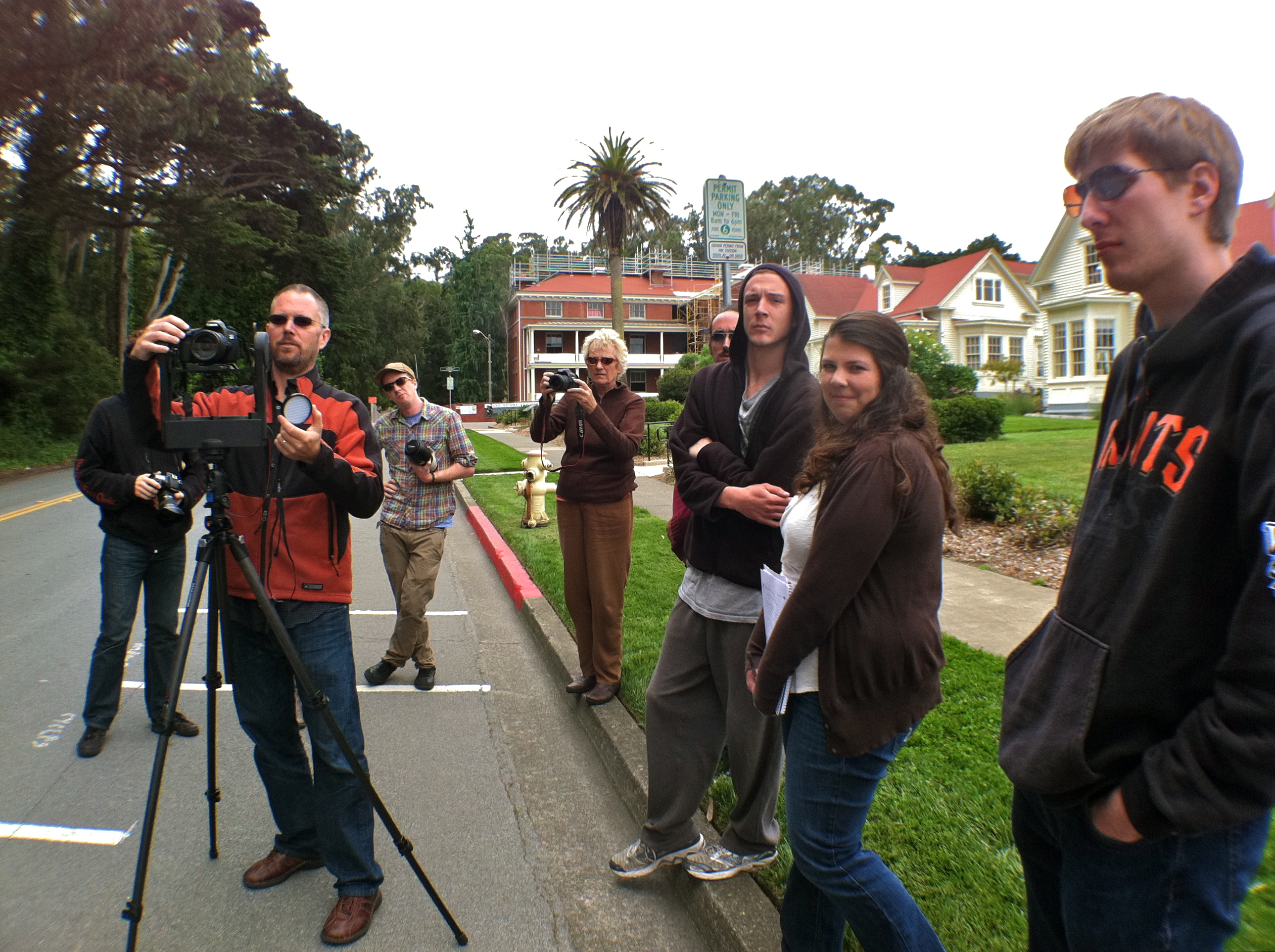 Instructors and students shooting a gigapan panorama in the SF Presidio Park  - ©2011 Center for Digital Archaeology, Berkeley CA. Creative Commons creativecommons.org/licenses/by-nc/3.0/