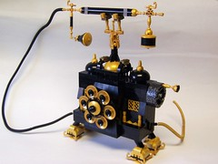 Collect call for The Brothers Brick (monsterbrick) Tags: gold phone lego victorian windup crank steampunk moc