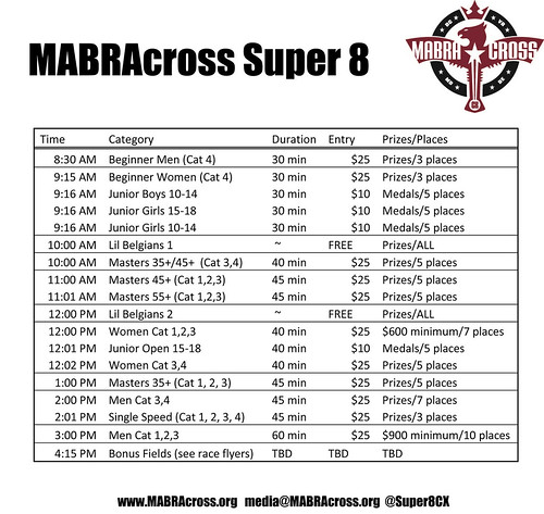 MABRAcross Super 8 daily schedule