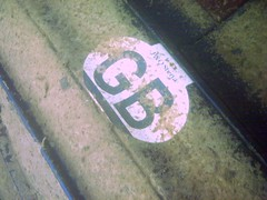 Powmill Quarry: P&O GB sticker (gordon.milligan) Tags: uk water scotland junk underwater fife scuba diving bsac quarry dsac powmill
