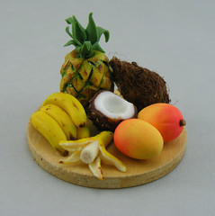 Exotic Fruits Tray (Shay Aaron) Tags: summer vacation food broken yellow dessert miniature coconut handmade seasonal mini banana polymerclay fimo pineapple tiny mango tropical 12th 112 dollhouse petit variable oneinchscale shayaaron