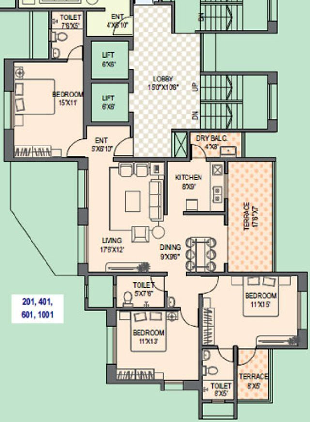 Paranjape Schemes' Gloria Grace F Wing 3 BHK Flat 1068 Carpet + 162 Terrace for Rs. 75.22 Lakhs