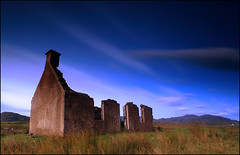 Shepards Cottage Ardnamurchan (angus clyne) Tags: old blue sunset summer field night scotland warm decay magic cottage ruin scottish calm hour shepard ardramurachan