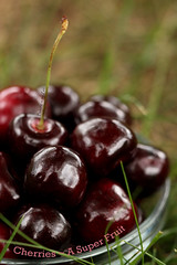 [EXPLORED]   Cherries ~ A Super Fruit (Baking is my Zen) Tags: grass fruit cherries bowlofcherries explored superfruit carmenortiz canonrebelt1i bakingismyzen antioxidantfood
