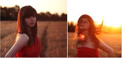 (Rukaya_Cesar) Tags: sunset red portrait brown sunlight girl field female hair golden diptych wheat gemma fabric hour flare hairflip