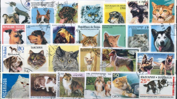 Známky - 100 rôznych, mačky a psy