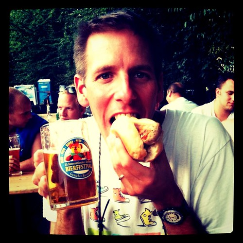 Bratwurst and beer, Berlin