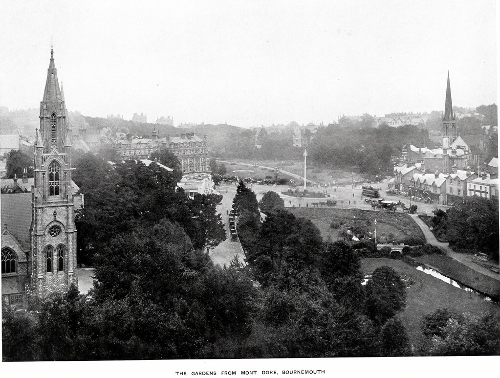 THE SQUARE FROM THE MONT DORE HOTEL / TOWN HALL. BOURNE AVENUE. BOURNEMOUTH. DORSET. 1905