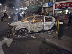 Burnt Police Car - Tottenham Riot - 6th August 2011 by AndrewPagePhotography