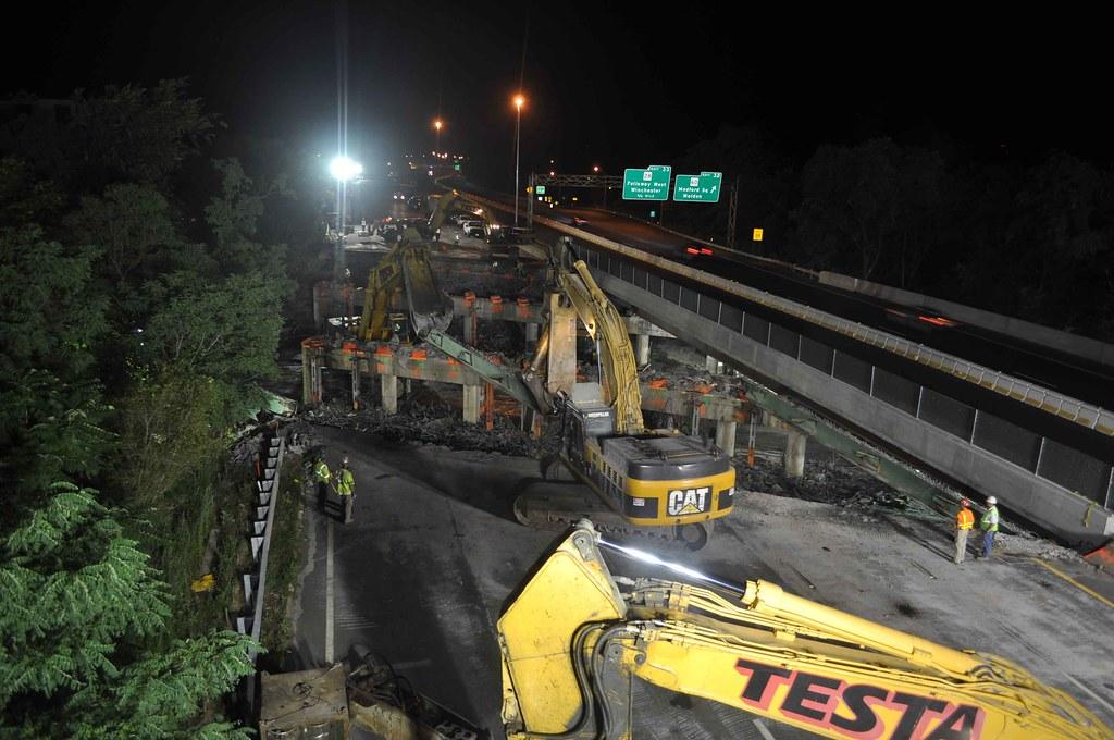 Medford I-93, Riverside Avenue Bridge Demolition, August 6, 2011