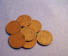 Pennies For Me (peanutbasher) Tags: old stilllife money vintage photography penny pennies
