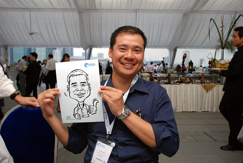 caricature live sketching for Singapore International Water Week Closing Dinner - 1