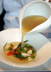 Tosca at the Ritz-Carlton Hong Kong- Red Cunard Consomme w: Baby Vegetables (Shoot First, Eat Later) Tags: hongkong hotel italianfood tallesthotel