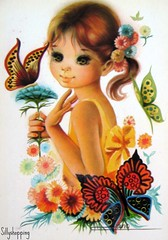 Vintage Big Eyed Girl Postcard (Sillyshopping) Tags: flowers cute girl beauty illustration vintage butterfly spain 60s pretty sweet postcard spanish card 70s lovely collectable bigeyed vintagecard sillyshopping