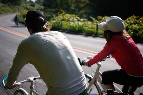 Cycling side-by-side near Lake Toya, Hokkaido, Japan