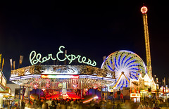 Polar Express [Explored] (gtsomething) Tags: carnival light canada fun edmonton fair games busy polarexpress alberta lighttrails funfair klondikedays carnivalrides fairrides capitalex lightsteaks gtsomething