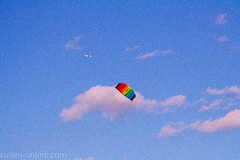 Objects In Motion (mich181189) Tags: kite motion clouds plane purple august grainy objectinmotion 2011 august2011 canoneos1000d 1400secatf80
