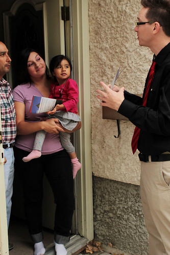 Talking to residents at their door
