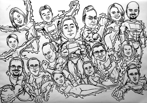 Group superheroes caricatures for AXA - pen and brush outline