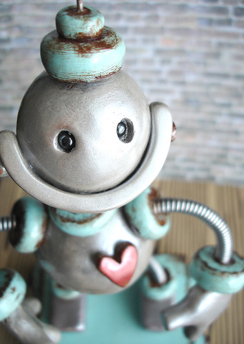 Robot Sculpture Silver Rustic Blue Baldwin Pull Toy by HerArtSheLoves