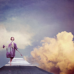 Dreamwalking (AftonDufoe) Tags: road blue sky clouds pastel ghost peach surreal fantasy dreamy portfolio whimsical texturesbylesbrumes aftondufoe