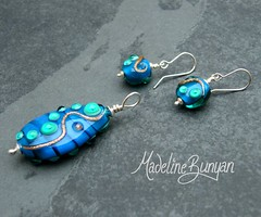 "Sea Blue Pendant and Earrings • <a style=""font-size:0.8em;"" href=""https://www.flickr.com/photos/37516896@N05/6194420587/"" target=""_blank"">View on Flickr</a>"