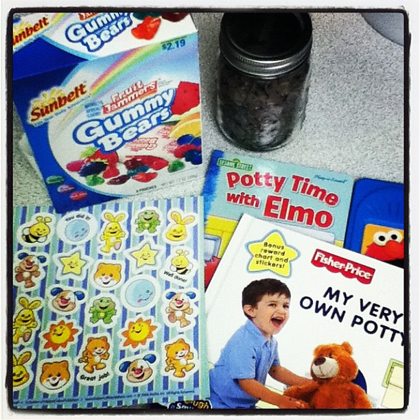 Potty treats and potty books. Guess what tomorrow holds?