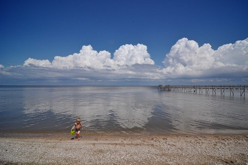 A big lake and a little boy