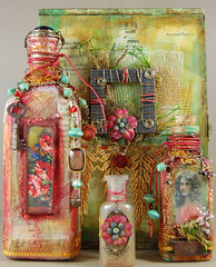 A Pretty Little Poppy Grouping (Zinnia_Treasures) Tags: collage bottles mixedmedia poppies cigarbox bottleart rosesonmytable cristinazinniagalliher