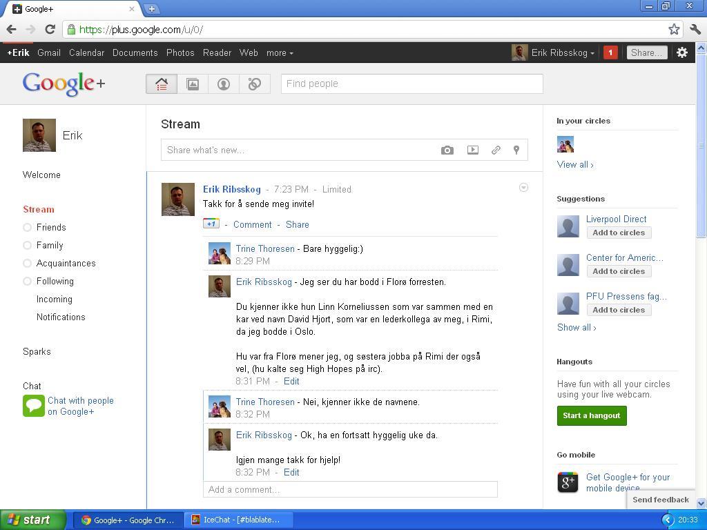 ikke lett å sende pm på google +
