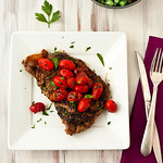 Ribeyes with Grilled Tomatoes