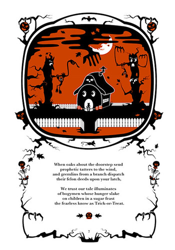 Illustration with dingbats for an illustrated Halloween poem by author and illustrator Robert Aaron Wiley in the book The Pumpkin Dream