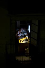 Working overnight (Javier Gallén) Tags: barcelona window girl night work ventana 50mm noche trabajo mujer imac chica