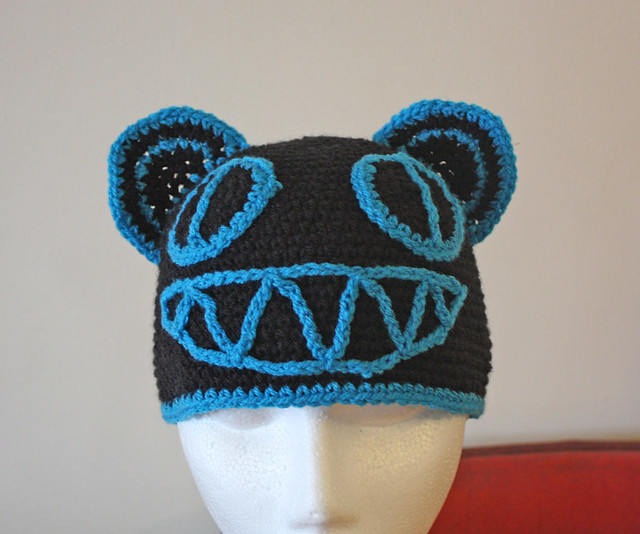 390 Radiohead Bear Hat Black with Azure Blue Trim (1)