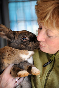 Debby gets a kiss from Baron the rabbit