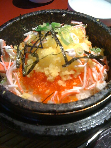 Al Bap: Korean stonebowl rice with fish roe, minced pickled dikon, and nori. Add chili paste, let sizzle, consume.