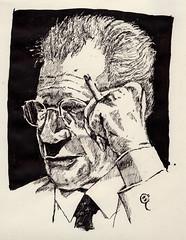 Sketching Potter (Jim_V) Tags: portrait ink sketch smoking dippen dennispotter nibpen