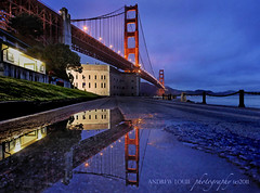 golden gate bridge: early blues (Andrew Louie Photography) Tags: california bridge blue reflections point golden gate san francisco fort marin jazz icon winfieldscott