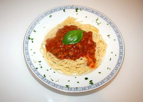 23 - Spaghetti mit Hackfleisch-Tomatensauce - Fertiges-Gericht