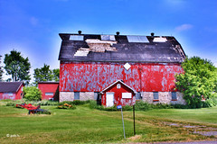 Roof of Many Colours (gabi-h) Tags: summer ontario barn rural rustic shed westport dilapidated farmmachinery gabih