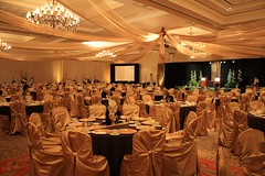 masquerade ceiling treatment gold satin (Cheers Events1) Tags: events fabric cheers pinwheel ceilingtreatment