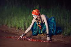 African tribes (Julia Skobeleva) Tags: africa summer woman color nature water beauty grass fashion sunrise river evening beads breast makeup skirt tribes turban bodyart